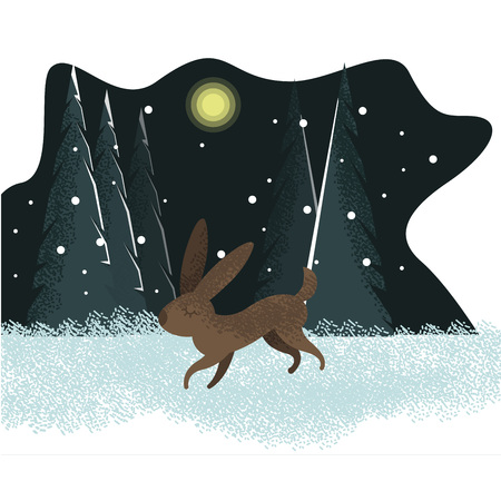 Vector cute childish flat drawn illustration with running rabbit and colorful winter background