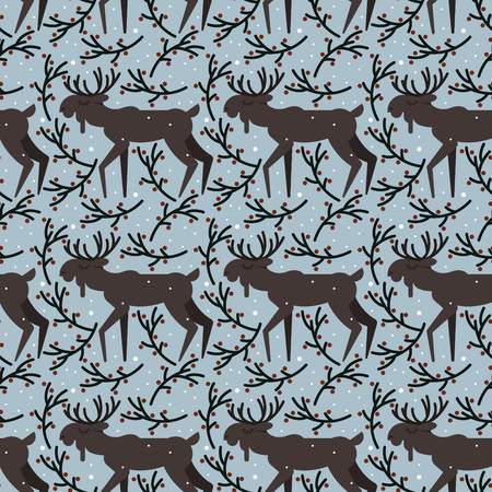 Vector seamless pattern with snowfall and moose repeated on the blue branch background in cute flat style
