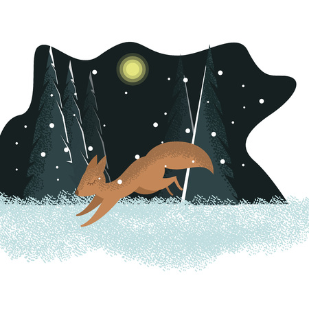 Vector flat cartoon winter illustration with running squirrel in the forest and with tree background with snow and copy space