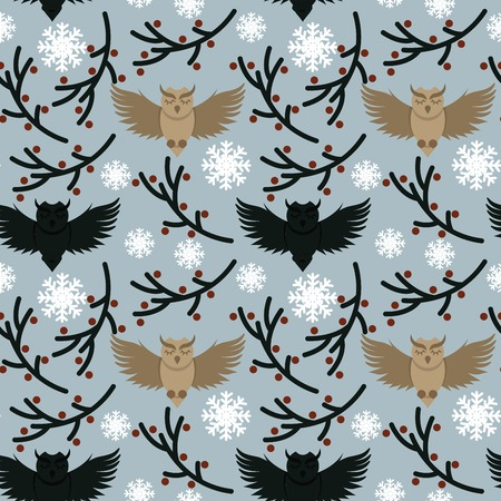 Vector seamless texture with cute illustrated owls character and ornamental branches repeated all round the wrapping paper