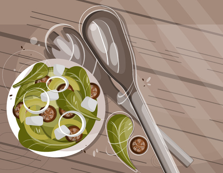 Vector flat illustration with green salad plate resting on the table. View from above-Vector file