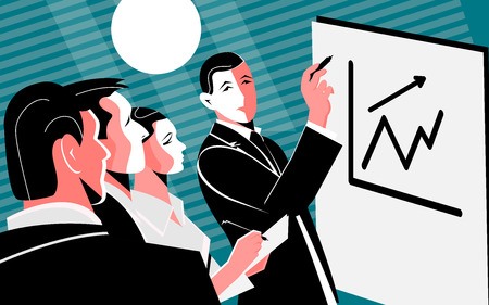 Vector flat illustration with people gathered in the conference room late in the evening in order to discuss the affairs presenting the diagram on the white board. Modern flat concept - Vector file Vektoros illusztráció