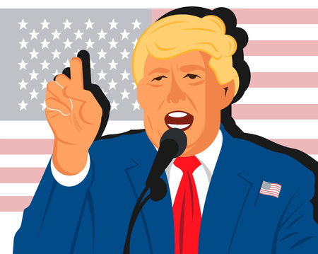 Flat vector cartoon portrait of gold haired president of the USA Donald Trump with his pointer finger up greeting the nation. Flat drawn illustration in vector