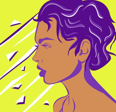 Vector flat drawn woman face from the side view. Contemporary design of a woman with awesome color composition. Vector poster for your graphic needs