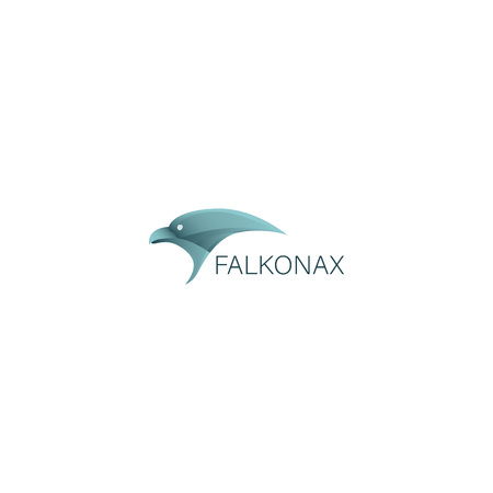 Logotype with falcon head and company name Illustration