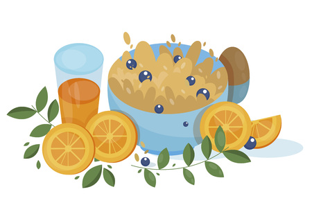 Appetizing porridge with blueberry and orange juice and hard boiled egg for breakfast. Awesome cartoon side view illustration. Vector illustration-Vector 일러스트