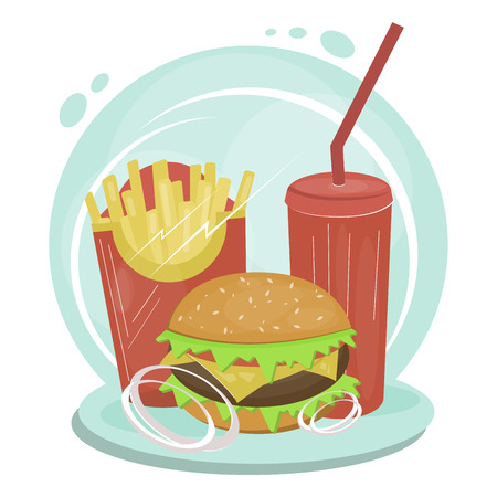 Colorful vector fast food items standing together waiting for somebody to eat them up. French fries together with burger and fizzy drink. Vector flat illustration-Vector