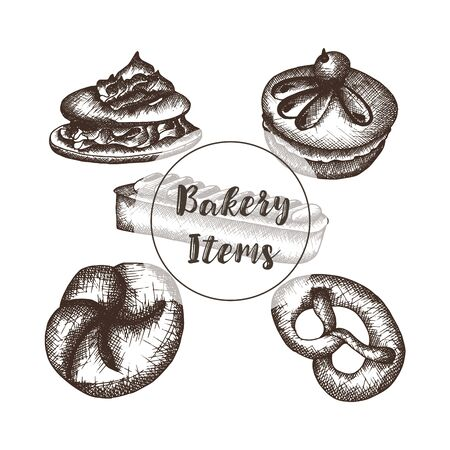 Bakery with hand drawn items. Sketched vector objects. Isolated vector bread items on white background Stockfoto - 132210548