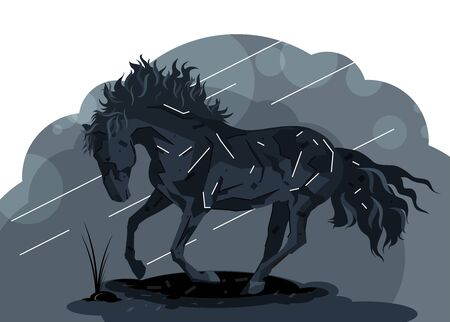 Stylized Black Horse illustration. Flat hand drawn graphic animal pawing against the ground fearing bad weather concept