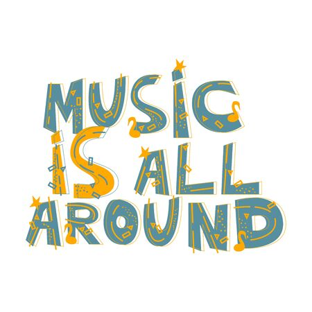 Illustration with hand lettering. Great element for music festival or t-shirt.