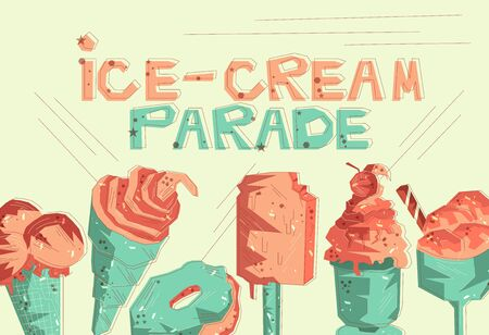 Flat drawn vector template with ice cream Hand drawn vector delicious ice-cream desserts concept. Flat stylized card design
