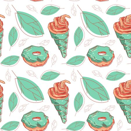 Flat light colored sweet background. Tasty sweet and candy repeated. Great print for texture, and packaging Ilustração