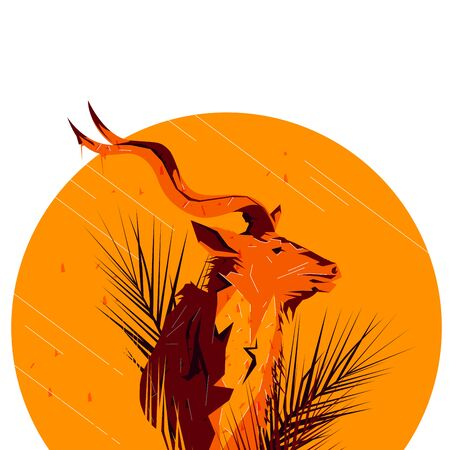Flat drawn saiga illustration. Wild life saiga antelope illustration concept. Bright colored animal illustration 向量圖像