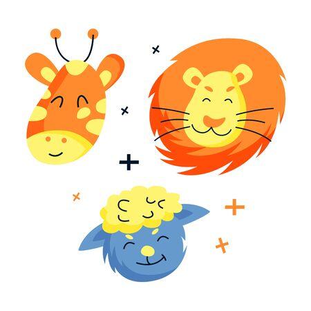Cute hand drawn animals set