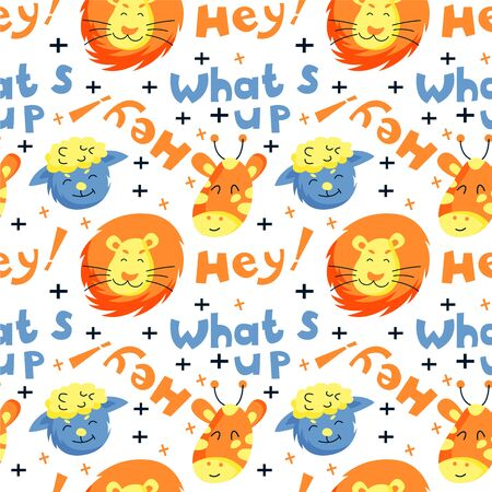 Seamless childish pattern with funny animals faces.