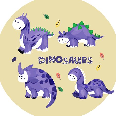 Cute Vector Illustrated Dinosaurs Set Isolated On White Background. Collection Of Simple Drawn Characters For Childrens Book