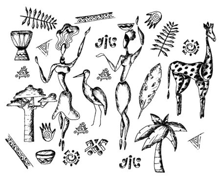 African Traditional Sketch Drawn Doodle Symbols Vector Set. African Life Concept