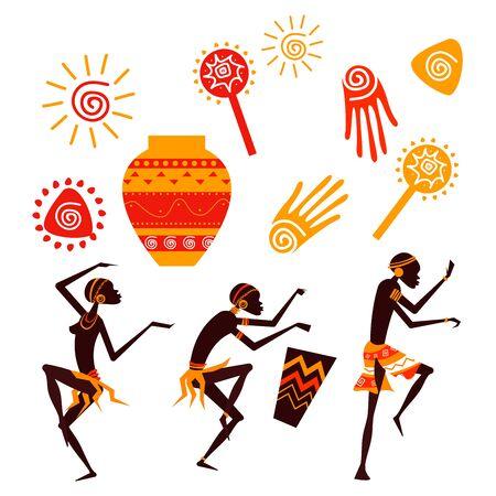 African People Silhouette Dancing Set. Ethnic Aboriginal Contour Concept 일러스트