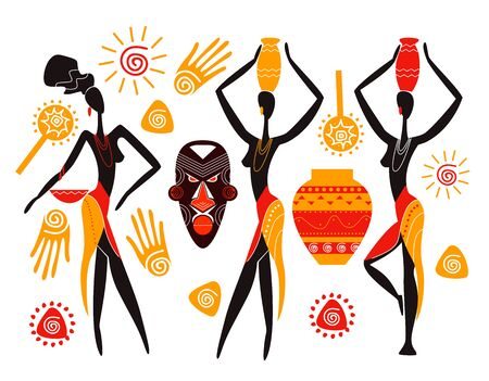 African Woman Silhouette Carrying Vessel On Head Vector Illustration. Tribal Life Concept