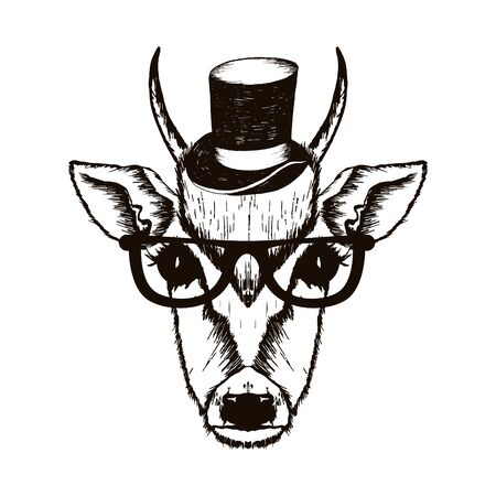 Hipster Monkey Muzzle Wearing Top Hat and Glasses Vector Hand Drawn Illustration. Artistic Black and White Animal Design
