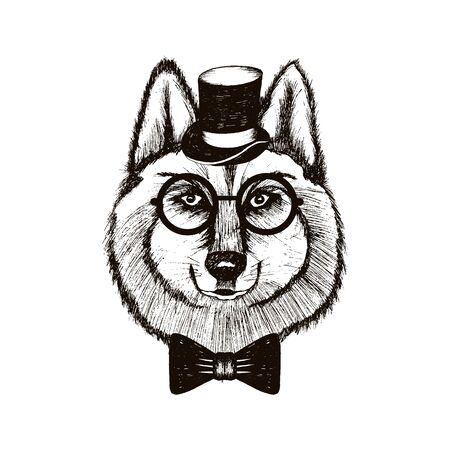 Hipster Wolf Muzzle Wearing Top Hat and Bow tie Hand Drawn Illustration. Artistic Black and White Animal Design Illustration
