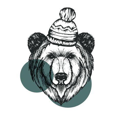 Retro Hipster Bear Animal Wearing Warm Winter Hat Vector Illustration. Hand Drawn Muzzle of Wild Creature