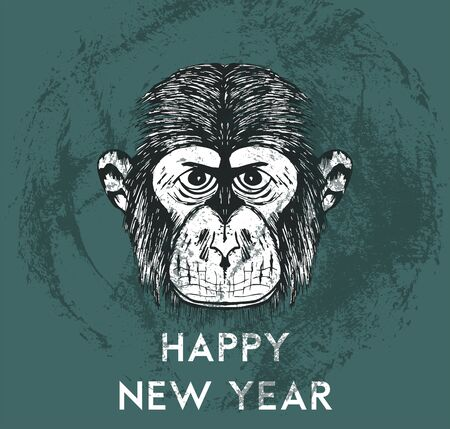 Hipster Strict Monkey Snout Vector Hand Drawn Illustration. Artistic Black and White Animal Design