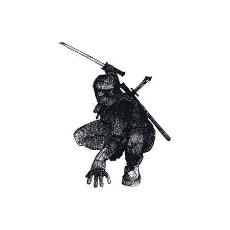 Personaggio ninja che indossa la maschera e in piedi in posa di combattimento isolato su sfondo bianco vettore abbozzato illustrazione. Concetto di arte marziale orientale