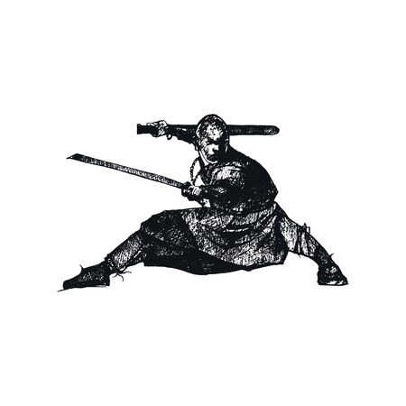 Ninja Character Wearing Mask and Standing in Fighting Pose Isolated on White Background Vector Sketched Illustration. Oriental Martial Art Concept