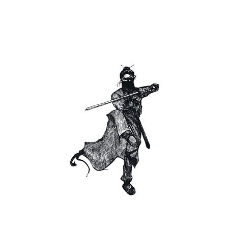Ninja Soldier Male with Weapon Isolated on White Background Vector Sketched Illustration. Oriental Martial Art Concept 矢量图像