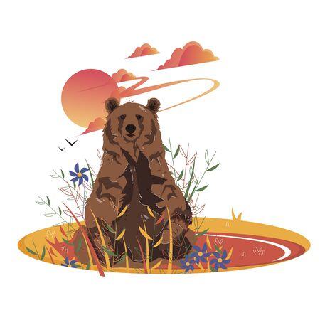 Brown Bear Sitting on Field Among Flowers at Sunset Vector Illustration. Wild Beast in Full Length Print