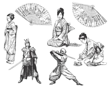Japanese People Wearing National Costumes and Kimono Vector Illustration. Hand Drawn Asia Concept