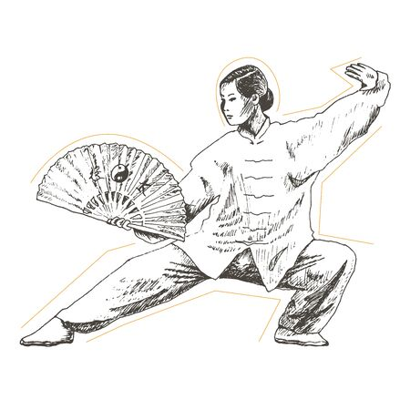 Young Woman with Ornamental Hand Fan Standing and Practising Martial Art. Chinese Culture and Judo Sport Exercising