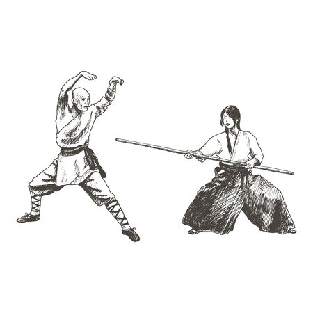 Japanese or Asian Woman Standing in Fighting Pose Opposite the Attacking Man Vector Illustration. Hand Drawn Female Practising Martial Art Concept