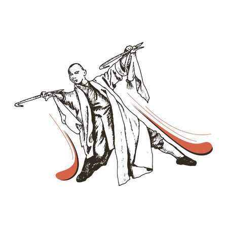 Shaolin Monk Standing in Fighting Pose Vector Illustration. Hand Drawn Male Wearing Long Clothing Training Body and Soul Concept Ilustrace
