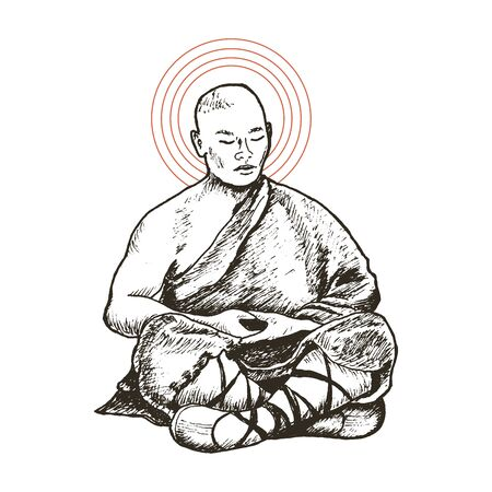 Buddhist Monk Meditating Sitting in Lotus Pose Vector Illustration. Hand Drawn Male Practicing Traditional Ritual