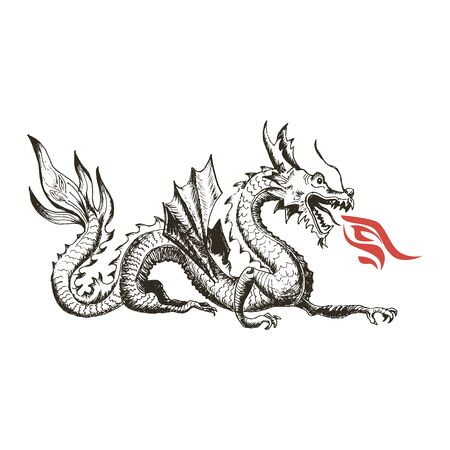 Chinese Dragon as China Symbol and Attribute Vector Illustration. Hand Drawn Flying Monster as Astrological Symbol Concept