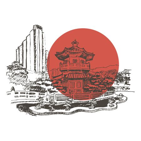 Japanese or Chinese Landscape with Pagoda Building Vector Sketched Illustration. Hand Drawn Asian City View Concept 向量圖像
