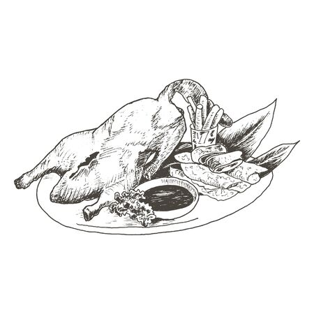 Festival Peking Duck as Famous Chinese Dish Vector Sketched Illustration. Hand Drawn Appetizing Main Course Concept Vetores