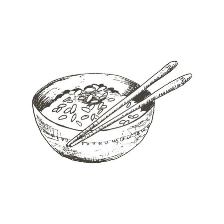 Bowl of Boiled Rice with Wooden Chopsticks Rested on Top Vector Sketched Illustration. Hand Drawn Chinese Main Course for Restaurant Menu