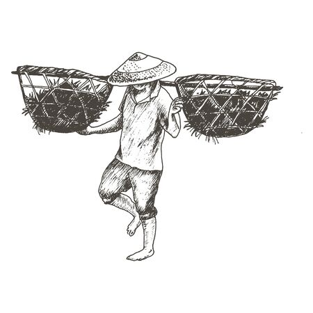 Asian Farmer in Conoid Hat Carrying Baskets with Grass on His Shoulders Vector Sketched Illustration. Hand Drawn Chinese Field Worker