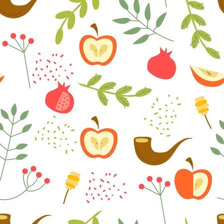 Rosh Hashanah Seamless Vector Pattern with Green Branches and Apple. Shana Tova or Jewish New Year Symbols