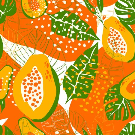 Tropical Colorful Seamless Vector Pattern with Papaya Fruit and Palm Leaves. Summer Green and Orange Colorful Flora as Wallpaper and Textile Design