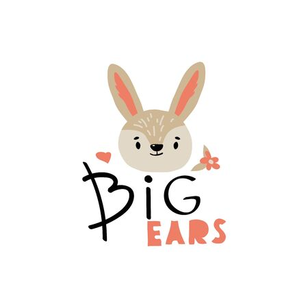 Hare Head with Big Ears Inscription Doodle Vector Illustration. Cute Wild Animal Muzzle as Stylized Childish Print for Kids Clothing