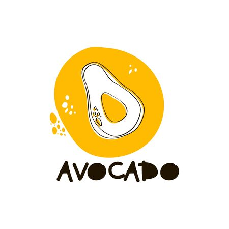 Doodle Avocado Fruit in Circle with Spots and Inscription Vector Illustration. Stylized Juicy and Ripe Fruit Icon Design