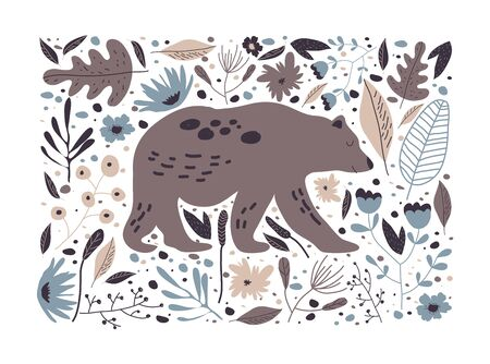 Rectangular Floral Poster with Bear Striding in Forest Vector Illustration. Wild Animal Poster and Wood Botany Иллюстрация