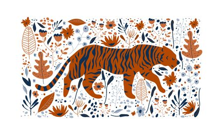 Striped Tiger Prowling Around Rainforest Among Foliage Vector Illustration. Wild Animal and Jungle Foliage Poster