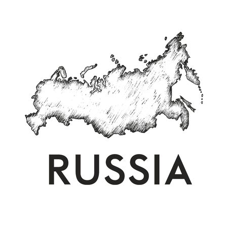 Russia Country Line or Bounds Map Vector Illustration. Linear Drawing of Russian Borders Ilustração