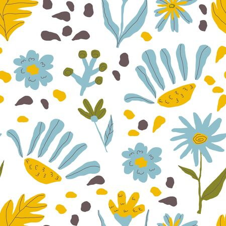 Stylized Flowers and Leaves Foliage and Flora Shapes in Vector Seamless Pattern. Trendy Print for Textile and Wallpapers
