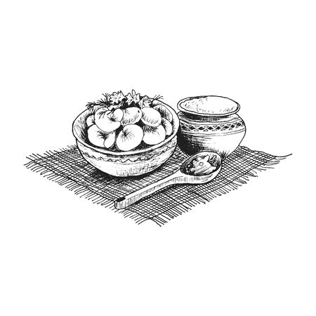 Bowl Full with Dumplings Served with Spoon and Sour Cream Vector Illustration. Linear Drawing with Traditional Russian Dish Made of Dough with Meat Stuffing